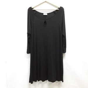 Bellino black keyhole soft 3/4 sleeve tunic Large
